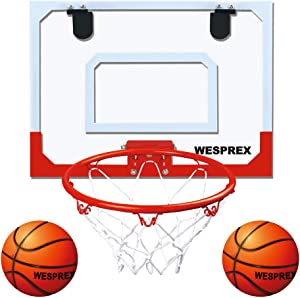 """WESPREX Indoor Mini Basketball Hoop Set for Kids with 2 Balls, 16"""" x 12"""" Basketball Hoop for Door, Wall, Living Room and Office Use with Complete Accessories, Basketball Toy Gift for Boys and Girls"""