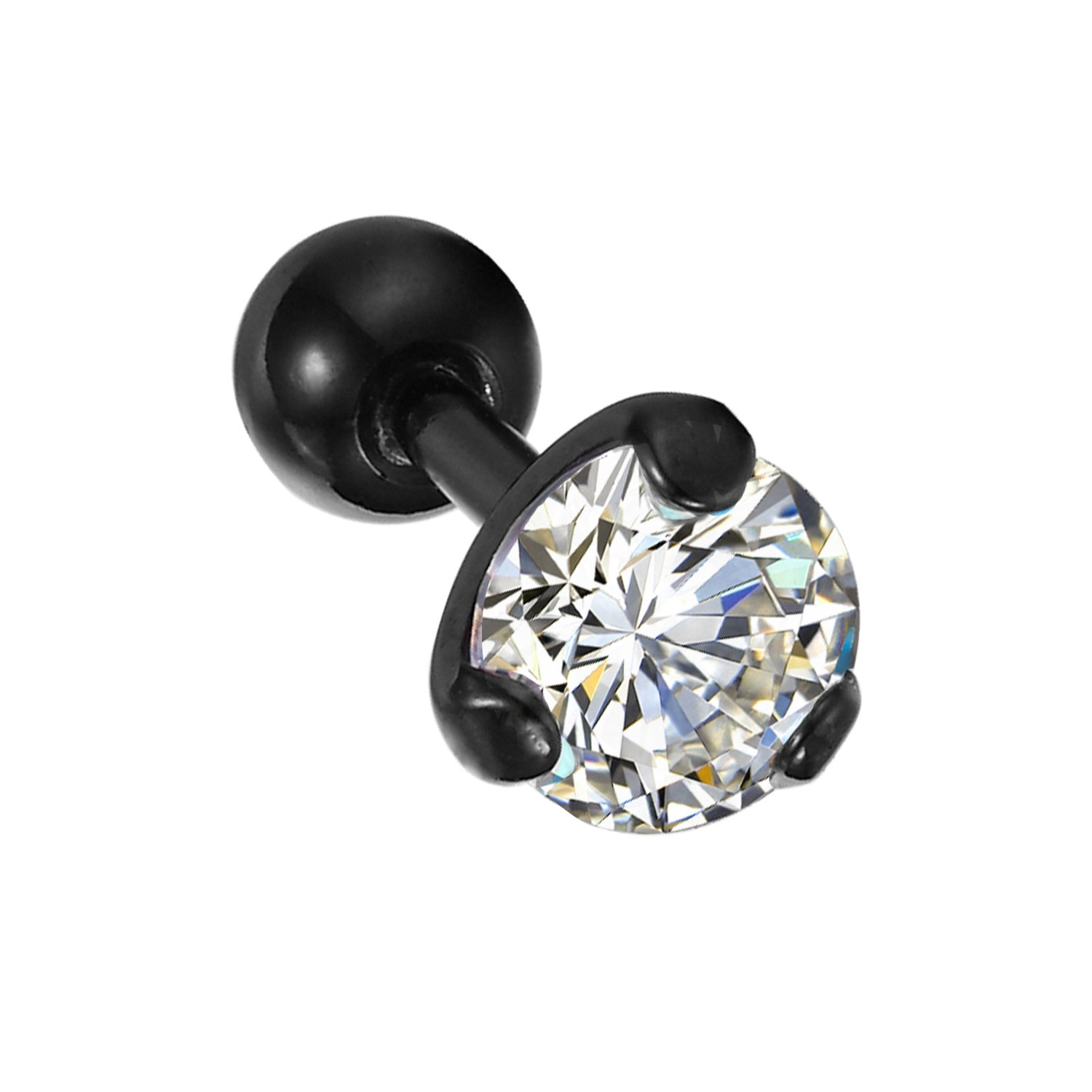Amazon: Bodyj4you Tragus Earring Stud Black With Crystal Cartilage  Earring 16g: Jewelry