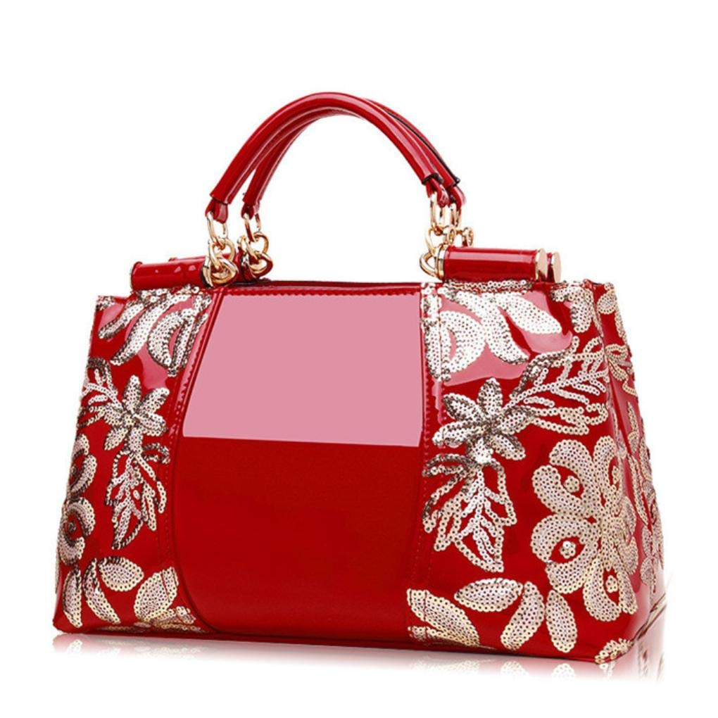 Red Highend Counters Genuine Leather Patent Handbags Women's Shoulder Bags