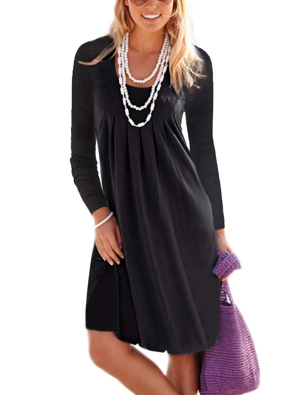 Traleubie Women's Casual Knee Length Long Sleeve Loose Pleated T Shirt Dress Black XL