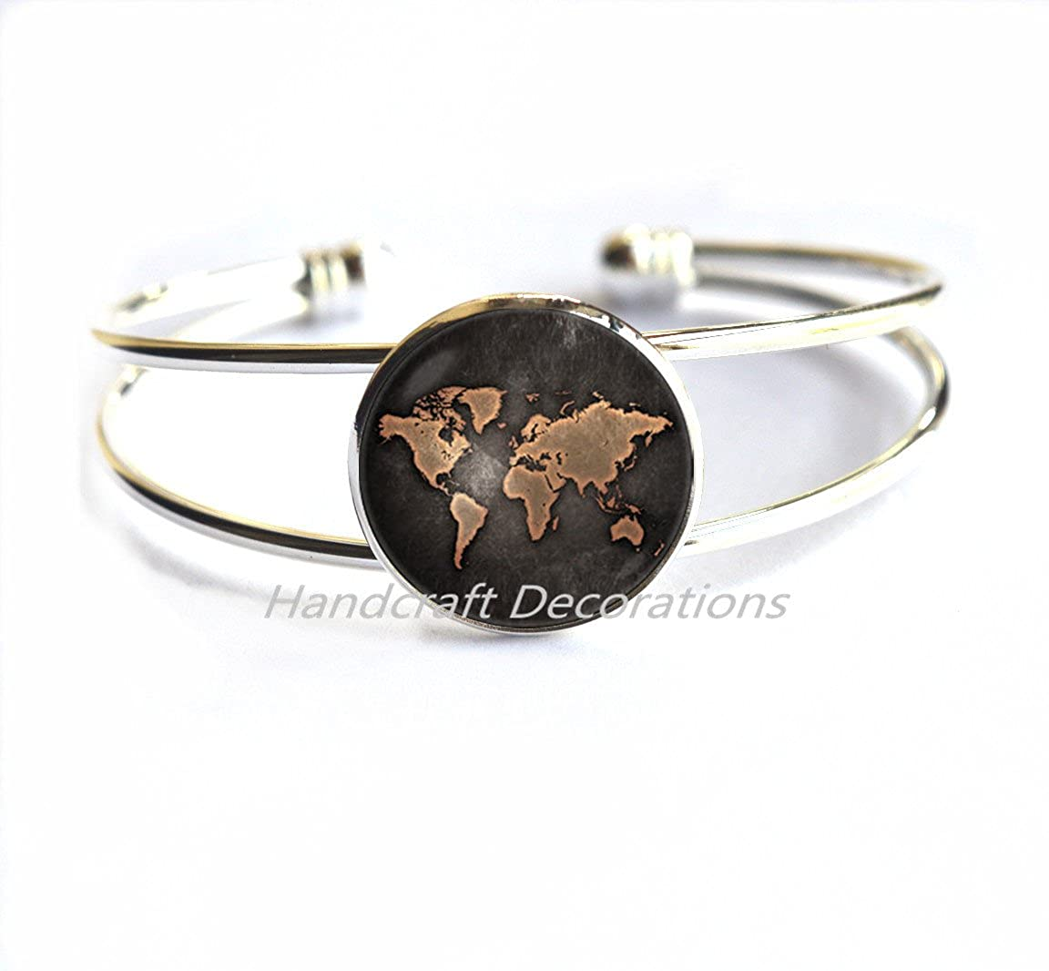 World map Bracelet Globe Bracelet Earth Map jewelry World map Bracelets Travel Bracelets Travel gift World globe jewellery Old map Bracelet.F280 HandcraftDecorations