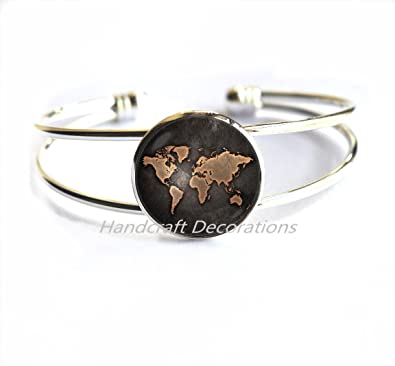 Amazon Com World Map Bracelet Globe Bracelet Earth Map Jewelry