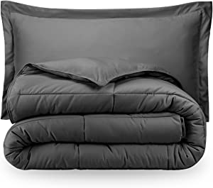 Charcoal Twin Extra Long Down Alternative Comforter Set by Ivy Union
