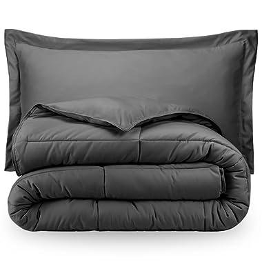 Bare Home Ultra-Soft Premium 1800 Series Goose Down Alternative Comforter Set - Hypoallergenic - All Season - Plush Siliconized Fiberfill (Full/Queen, Grey)