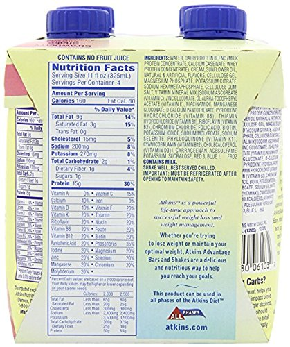 Atkins Ready To Drink Shake, (Strawberry, 11 Ounce, 12 Count)