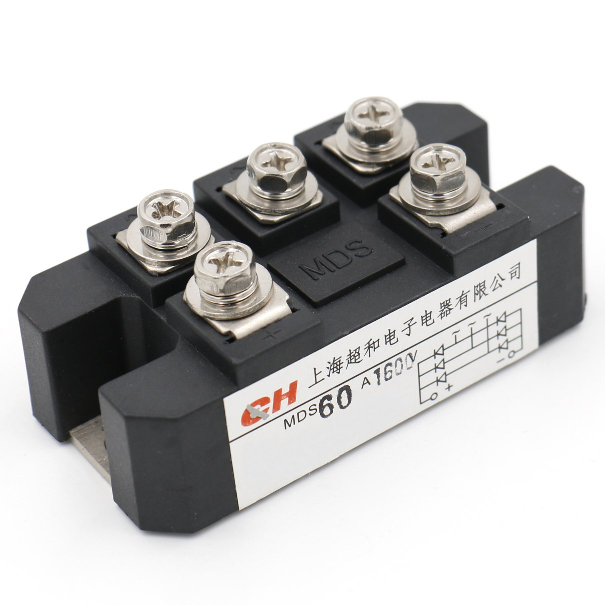 Heschen Three phase bridge rectifier MDS-60A diode module 60A 1600V 5 screw terminals Shanghai Chaohe Electric Co.Ltd