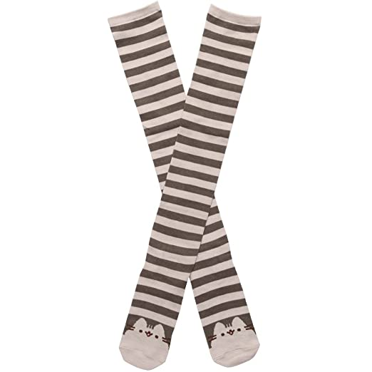c88d44a9d4f Image Unavailable. Image not available for. Color  Pusheen Striped Face  Women s Knee High Socks