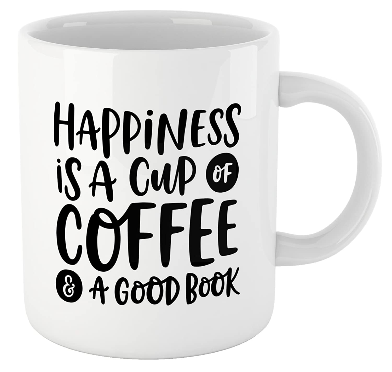 """Happiness is a Cup of Coffee and a Good Book"" Ceramic Coffee Cup"