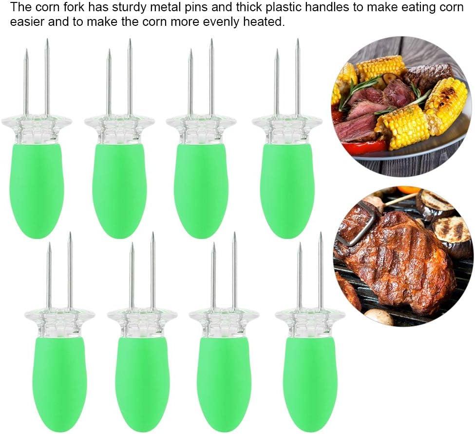 Bâtonnets de torréfaction - Fourchette à maïs en acier inoxydable BBQ BBQ Corn Insert 4 Sets (8pcs) a Pack(Orange) Vert
