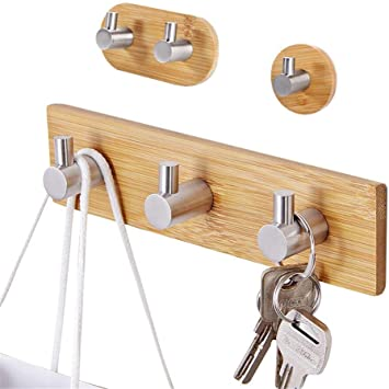 2 pcs Wall Hooks Stainless Steel and Bamboo Adhesive Towel Organizer for Bedroom