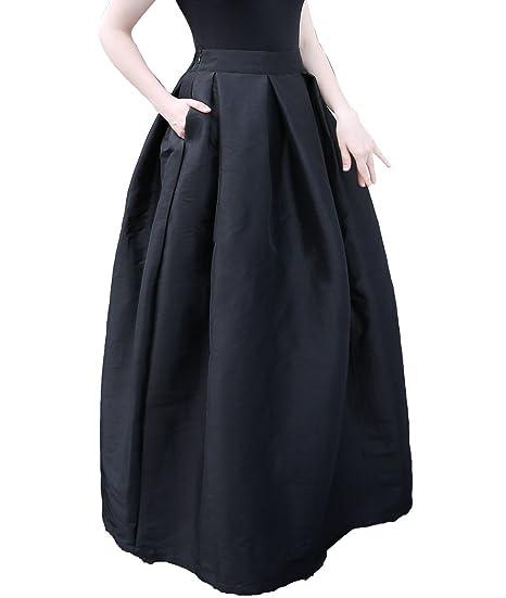 9b6e764757 Outgoings Women's Maxi Skirt High Waist Satin Evening Prom Party Long Skirts