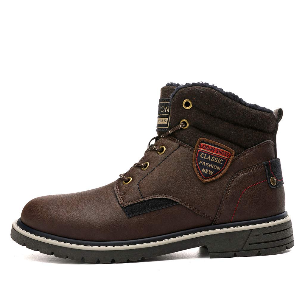 Mens Leather Boots Ankle Sneakers High Top Outdoor Winter Shoes with Fur Lining (US:9.5-10, Brown) by Suoxo Men Shoes