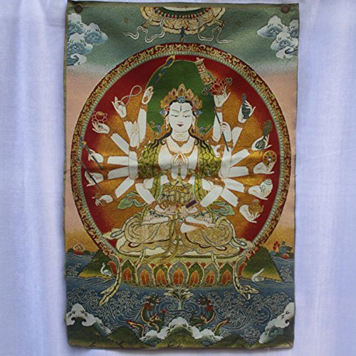 EASTCODE Collectible Traditional antique tibet Buddhism in Nepal Thangka of Buddha paintings,Big size guan yin silk brocade painting ()