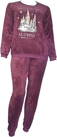 Harry Potter Hogwarts - Pijama de forro polar cálido para mujer