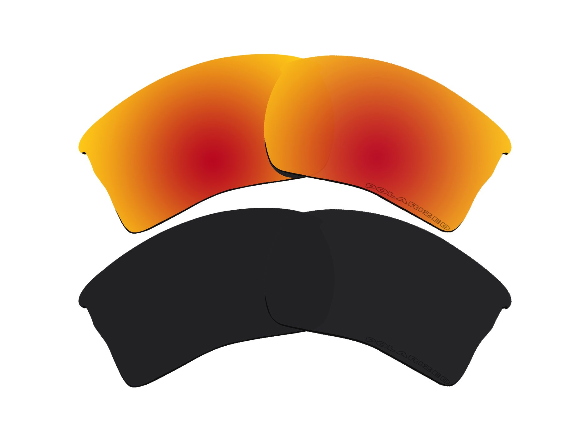 2 Pairs Polarized Lenses Replacement Red & Black for Oakley Quarter Jacket Sunglasses by BVANQ (Image #1)