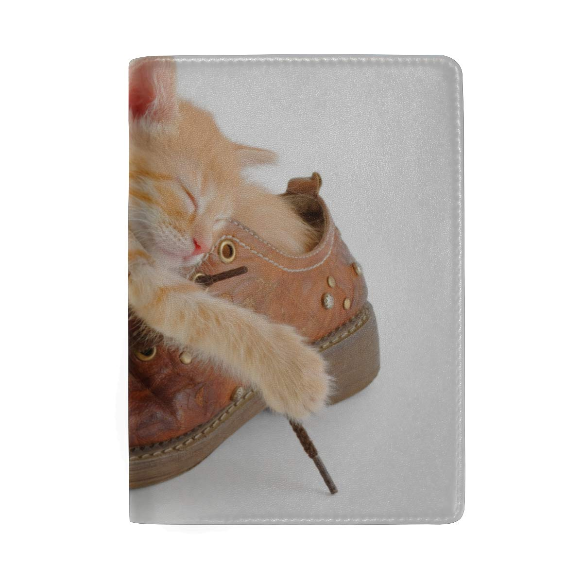 Red Fox In The White Snow Blocking Print Passport Holder Cover Case Travel Luggage Passport Wallet Card Holder Made With Leather For Men Women Kids Family
