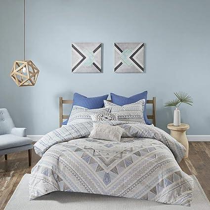 Amazoncom 7 Piece Light Blue Grey Abstract Comforter King Cal King