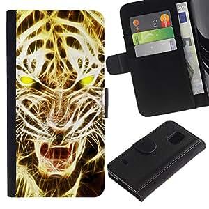 Billetera de Cuero Caso Titular de la tarjeta Carcasa Funda para Samsung Galaxy S5 V SM-G900 / Lion Roar Tiger Fire Art Light Yellow / STRONG