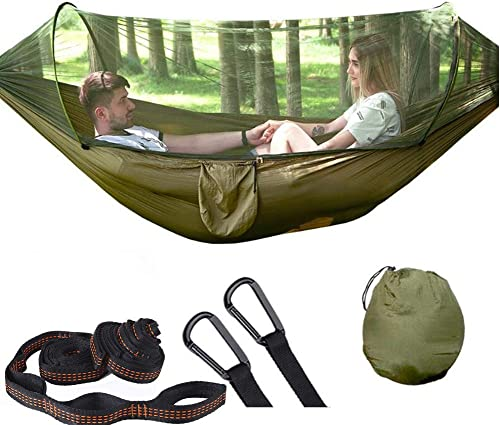 Camping Hammock with Mosquito Bug Net, Single Double Hammock Lightweight Portable Parachute Nylon 1 2 Person Hammock for Camping, Backpacking, Survival, Travel Mo