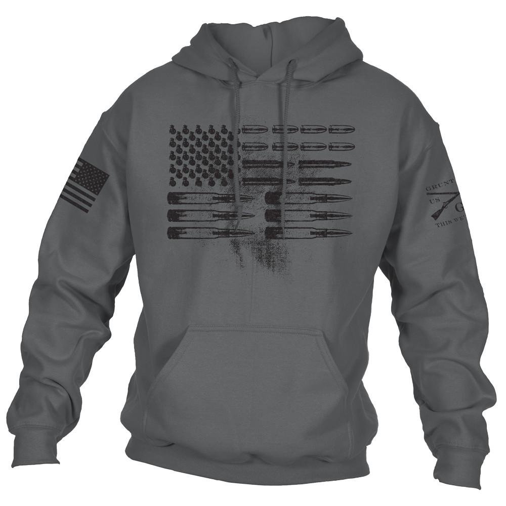 Grunt Style Ammo Flag 2.0 Hoodie, Color Charcoal, Size Large