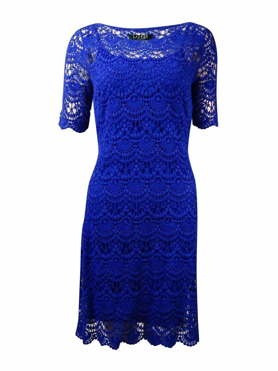 Lauren Ralph Lauren Short Sleeve Lace Crochet Shift Dress, Royal Blue (PS)