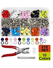 SUNTA 210 Sets 10 Colors Snap Fasteners Kit, 9.5MM Metal Prong Hollow Snaps and Solid Snaps Buttons with Fastener Pliers Press Tool for Clothing Sewing and Crafting