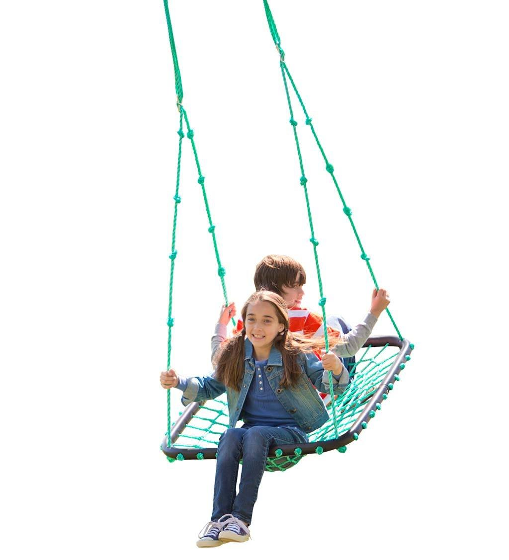 Deluxe Platform Hanging Tree Swing for Yard or Playground, Webbed Nylon Rope Mat and Padded Steel Frame, Multiple Kids 40 L x 30 W HearthSong 728854
