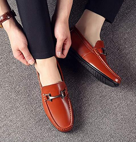 Hombres Koyi para Resistente al Primavera y de Goma de Cuero Zapatos nuevos Verano Antideslizante Cuero Brown Suela Desgaste Antideslizante Zapatos Ocasionales Respirables de qxrwHnrf