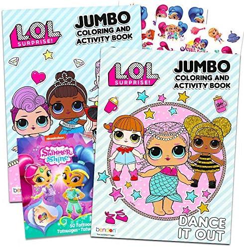 Lol Dolls 塗り絵 パーティーセット – バンドルにはLol Dollsアクティビティブック2冊とテンポラリータトゥーパック2冊(パーティー用品)が含まれています。
