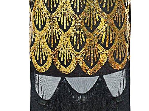 Vikoros - Vestido - Noche - Paisley - Sin mangas - para mujer Luxury Vintage Gold