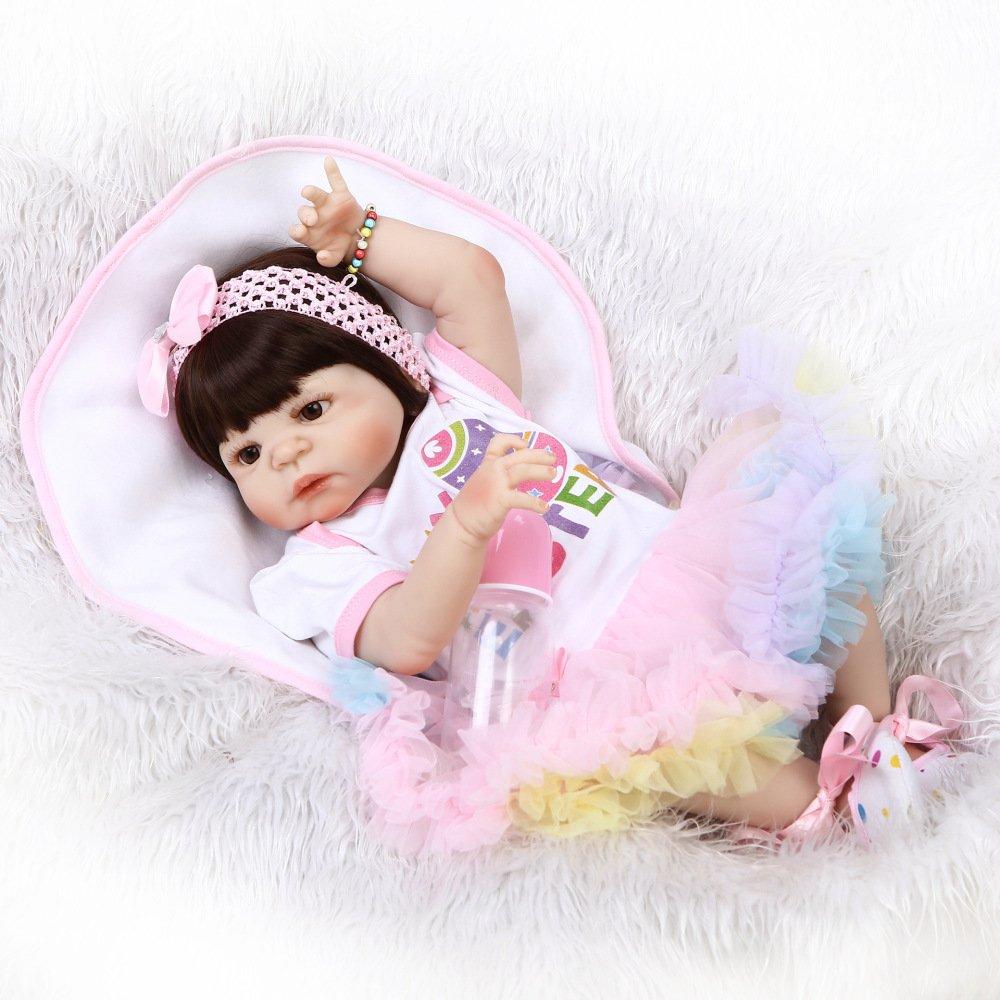GHCX Simulation Silikon Reborn Puppe Kann Das Wasser Spielzeug Baby Niedlichen Baby Kreative Geburtstagsgeschenk 56CM Eingeben