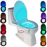 Lampada Notturne igienici Bagno WC Led Luce Batteria con notte Sensore di Movimento, ZSZT 8 cambiamento di colori (8 colori)