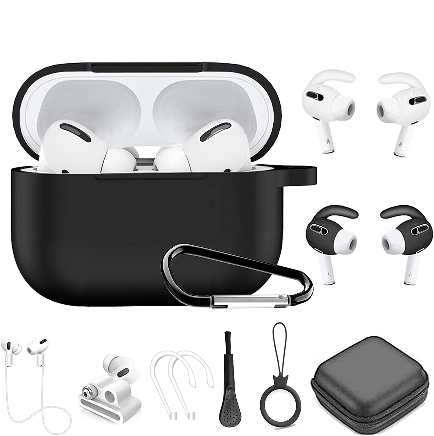 Airpods Pro Case, 11 in 1 Silicone Airpod Pro Accessories kit Set, Apple Airpods 3 Charging Case Cover Skin with Ear Hook/Earbuds Case/Watch Band Holder/Brush/Keychain/Eartips (Black)