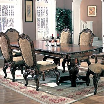 Coaster Saint Charles Dining Table With Double Pedestal In Deep Brown Finish Only