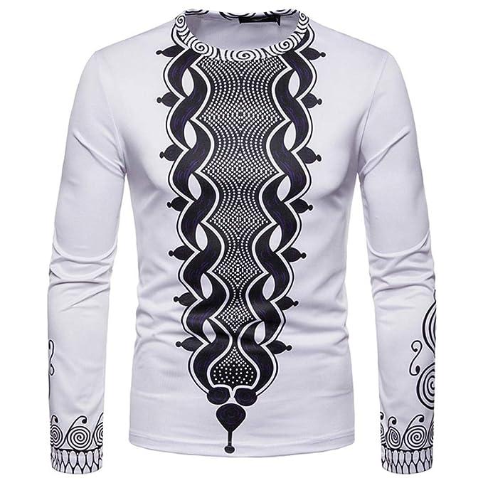 Resplend Camiseta de Manga Larga Dashiki O-Neck de Manga Larga Estampada Africana 3D otoño Invierno de Hombre: Amazon.es: Ropa y accesorios