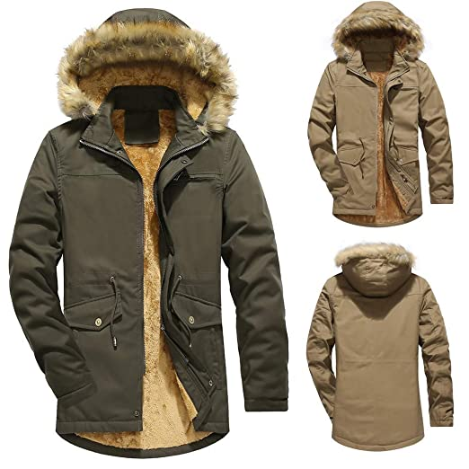 Amazon.com: iLXHD Mens Warm Faux Fur Lined Quilted Winter Coats Jacket: Clothing