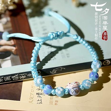 YUANOMSL Pulsera De Ceramica,Azul Cielo Hecho A Mano Japonés ...