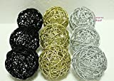 Thailand's Gifts : Gold, Silver, Black Medium Rattan Ball, Wicker Balls, DIY Vase And Bowl Filler Ornament, Decorative spheres balls, Perfect For Decoration And Party 3-3.5 inch, 9 Pcs.