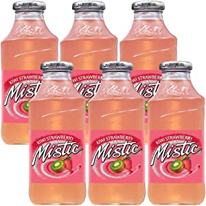 Mistic Kiwi Strawberry Drink, 16oz Glass Bottle (Pack of 6, Total of 96 Fl Oz)