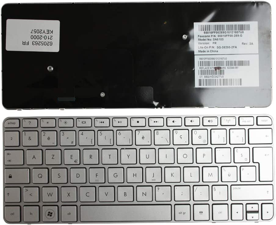 HP Mini 210-2018TU Keyboards4Laptops French Layout Silver Frame Silver Laptop Keyboard Compatible with HP Mini 210-2016TU HP Mini 210-2017TU HP Mini 210-2019TU HP Mini 210-2020EH