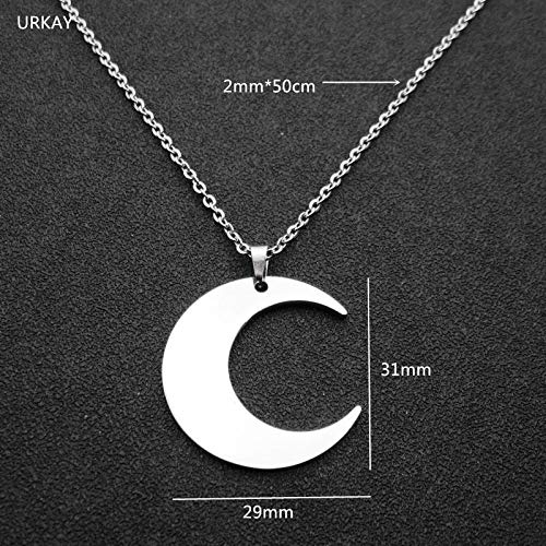 Davitu High Polished Silver Tone Blank Stainless Steel Moon Necklace Pendant DIY Logo Fashion Mens Womens Jewelry Metal Color: with 50cm Chain