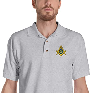 75d4d1fe Masonic Shirt Classic Gold Square & Compass Freemason Embroidered Polo Shirt  at Amazon Men's Clothing store: