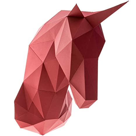Paperraz 3D Unicorn Head Animal Building Trophy Puzzle Low Poly PaperCraft  Kit for Adults & Teens - NO Scissors Needed