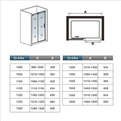 150x195cm Mamparas de ducha puerta de ducha 6mm vidrio templado de ...