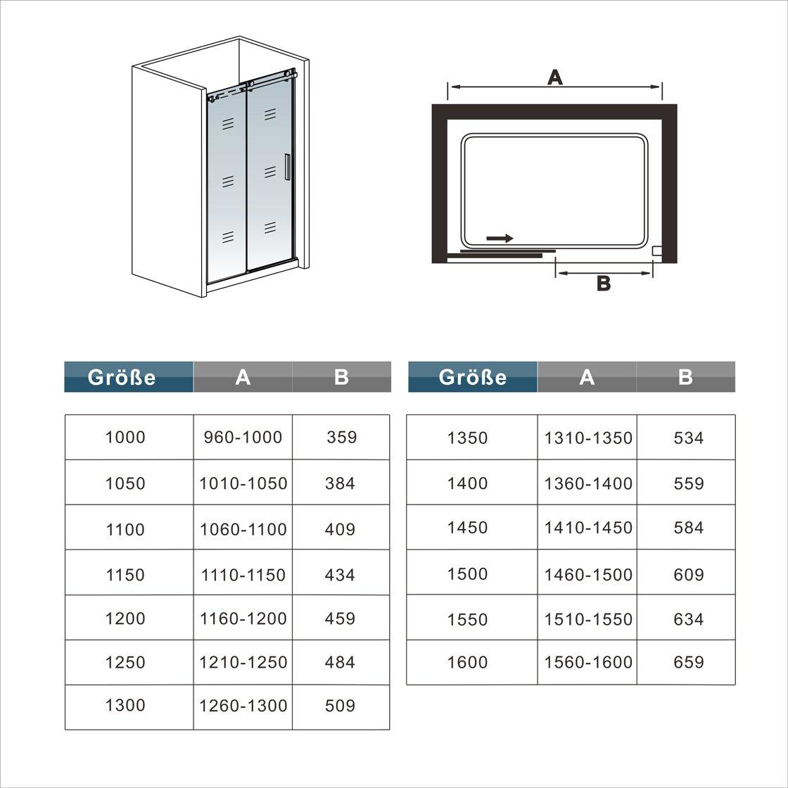 110x195cm Mamparas de ducha puerta de ducha 8mm vidrio templado de Aica