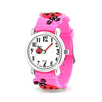 82146bde8d3d Good Luck Red Ladybug Waterproof Wrist Watch Time Teacher Quartz 3D Cartoon  Pink Silicone Wristband Round White Dial