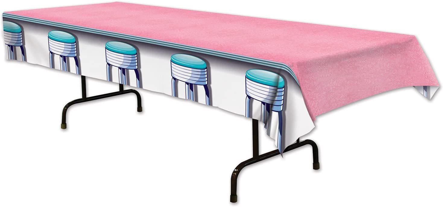 "Beistle 1950's Soda Shop Stool Table Cover Supply – Retro, Sock Hop, and Oldies Decor for 50's Themed and Birthday Parties, 54"" x 108"", Multicolored"