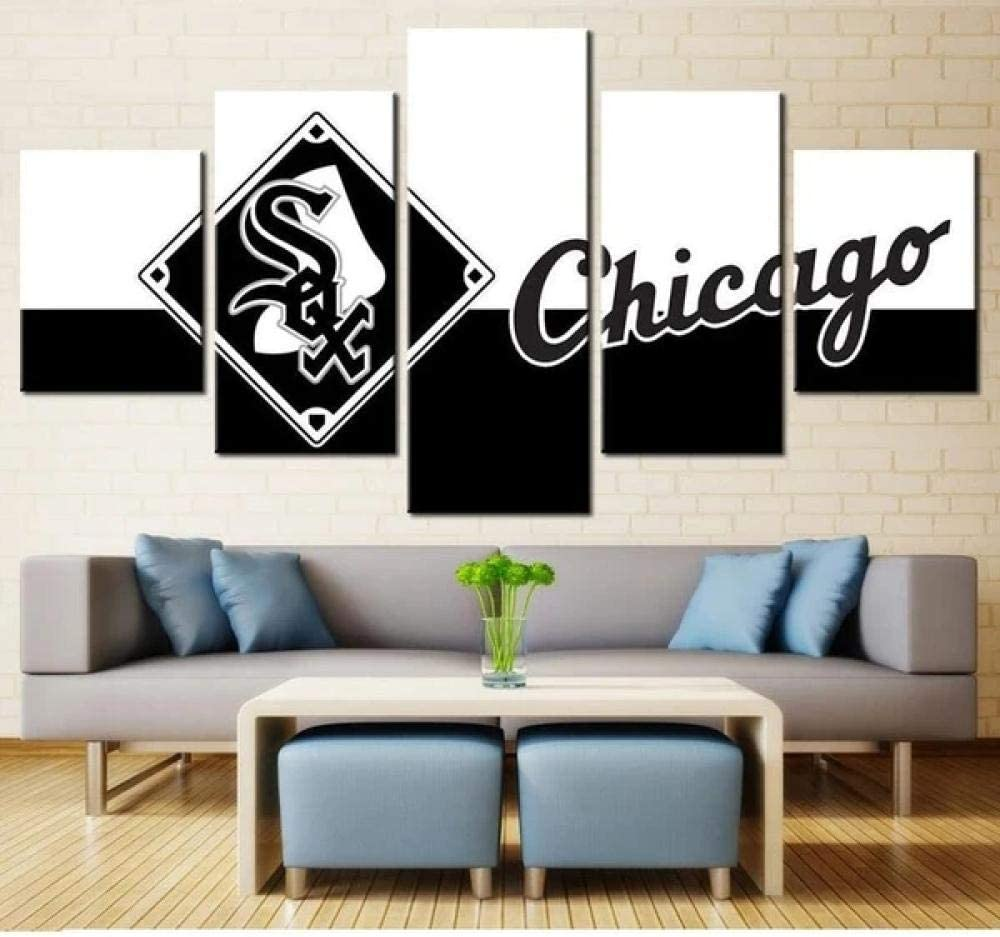 Canvas Wall Art Prints on Canvas Chicago 5 Piece Artwork Stretched Framed Ready to Hang White Sox Football Logo du Club Sportif NBA NFL NHL NCAA MLB-100x200 cm