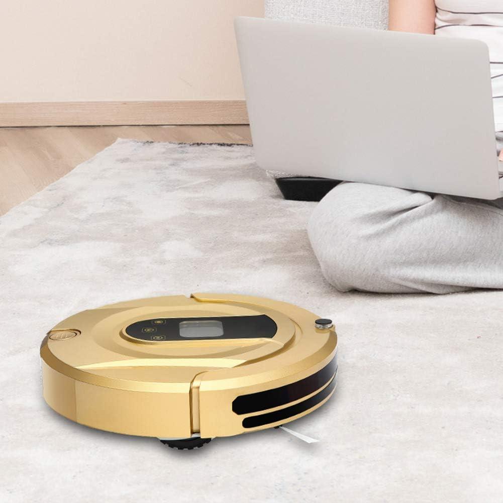 Aspirateur robotique à chargement automatique, balayeuse intelligente, balayage super silencieux, modes de nettoyage multiples, pour sols en bois,Gold Pink