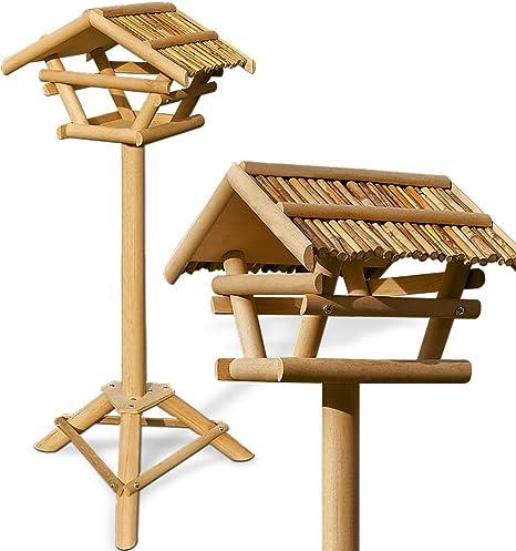 Casa de pájaros de madera alimentación estación de mesa de pie soporte alimentador jardín exterior de alta calidad modelo elección, bambú: Amazon.es: Jardín